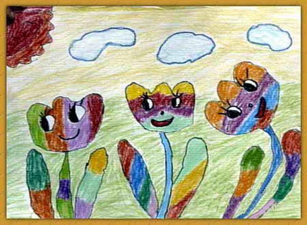 花朵-蜡笔画图集3