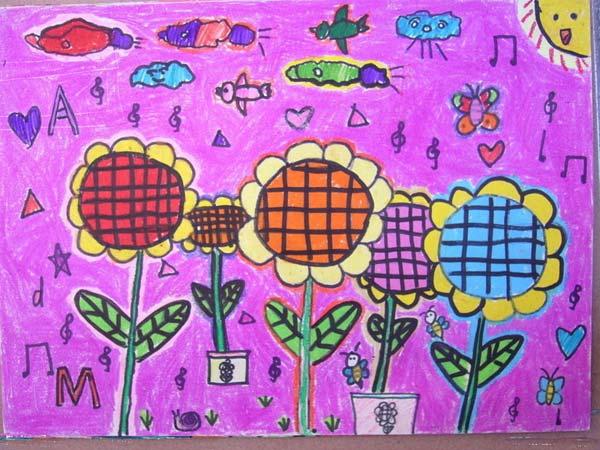 花朵-蜡笔画图集4