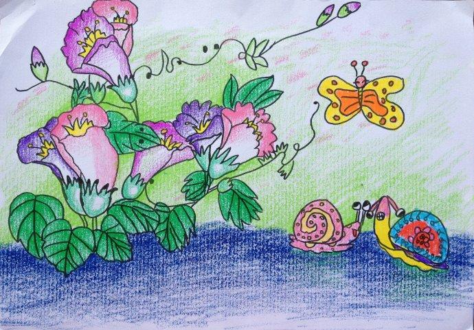 花朵-蜡笔画图集5