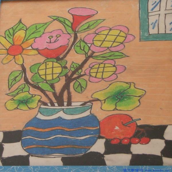 花朵-蜡笔画图集8