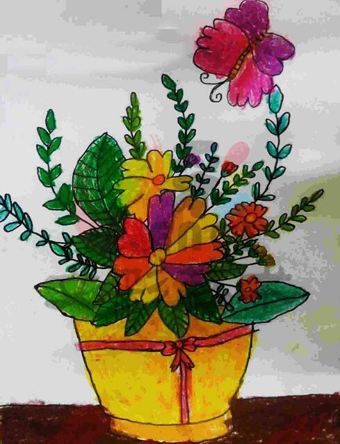 花朵-蜡笔画图集11
