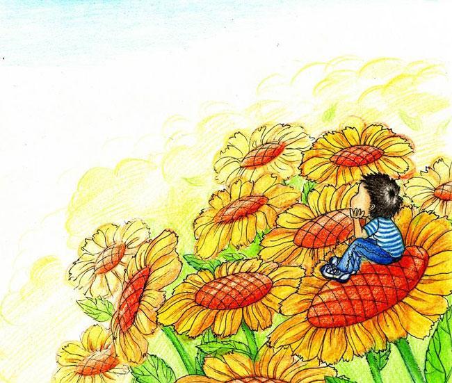 花朵-蜡笔画图集12