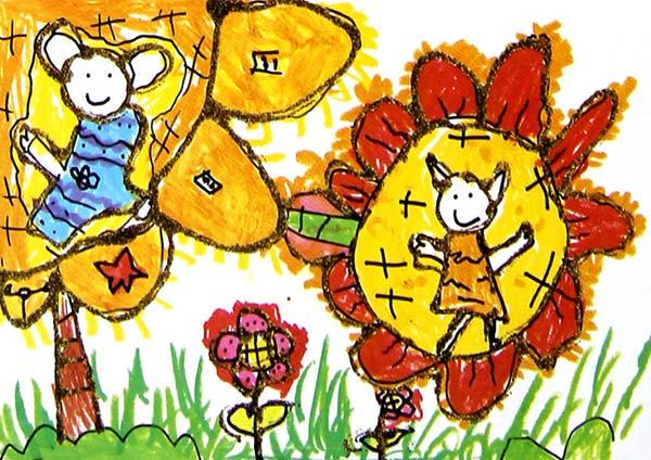 花朵-蜡笔画图集13