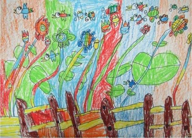 花朵-蜡笔画图集14
