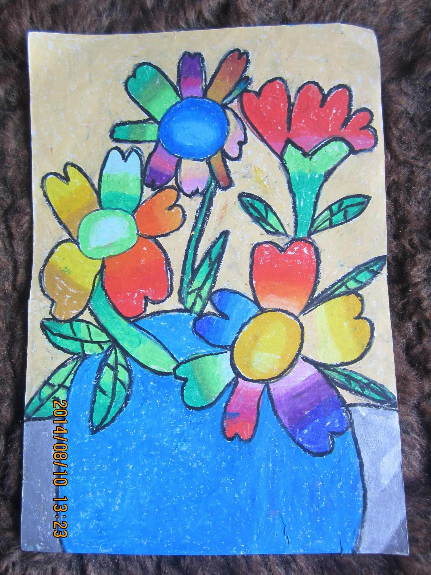 花朵-蜡笔画图集15