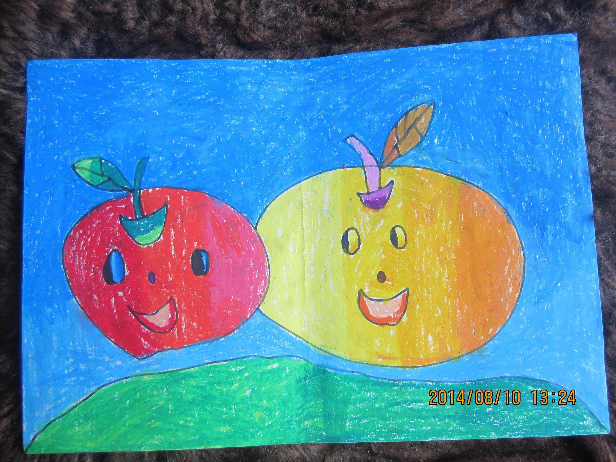 苹果-蜡笔画图集
