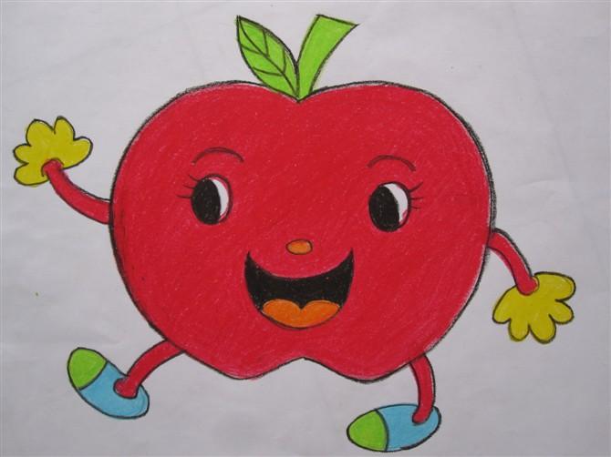苹果-蜡笔画图集2
