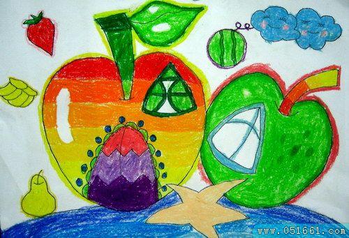 苹果-蜡笔画图集3