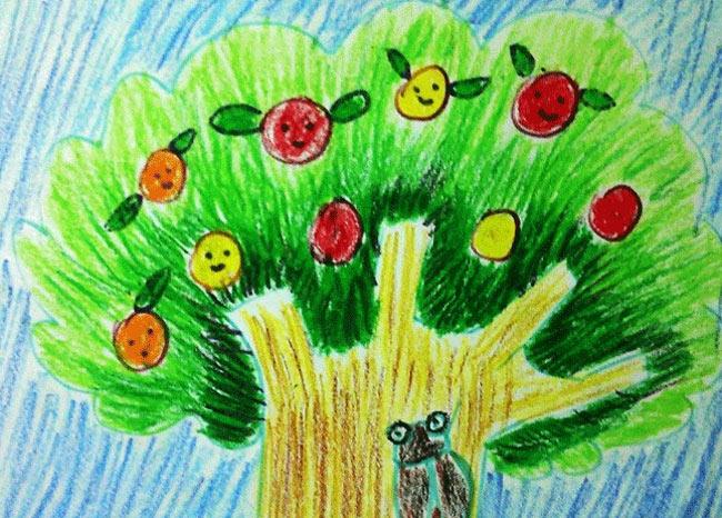 苹果树-蜡笔画图集
