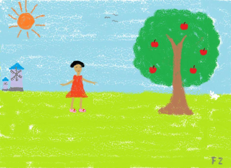 苹果树-蜡笔画图集3