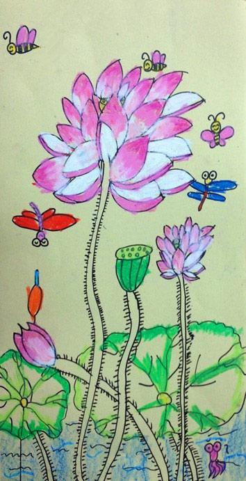 荷花-蜡笔画图集