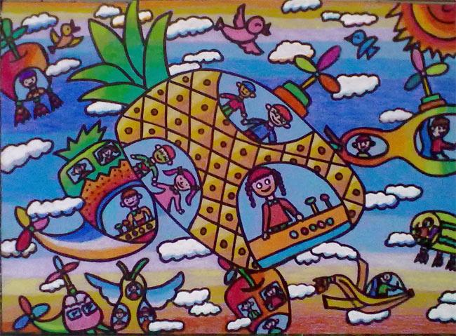 菠萝-蜡笔画图集
