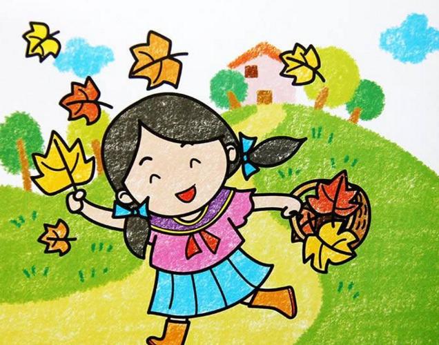 落叶-蜡笔画图集
