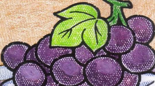 葡萄-蜡笔画图集