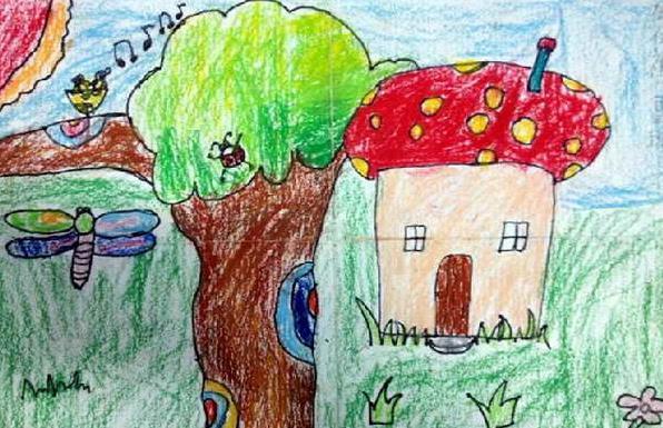 蘑菇-蜡笔画图集2