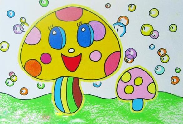 蘑菇-蜡笔画图集3