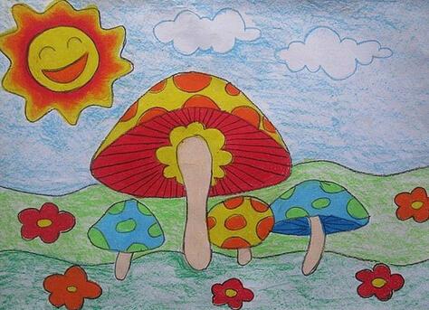 蘑菇-蜡笔画图集4