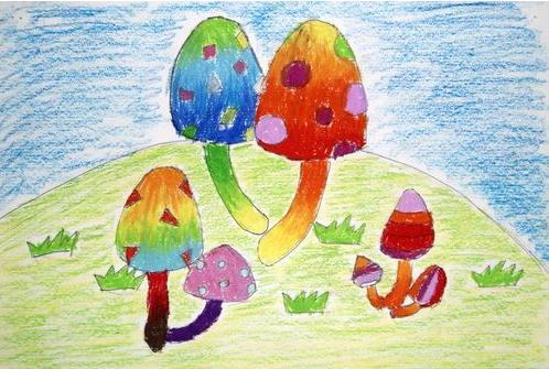 蘑菇-蜡笔画图集6