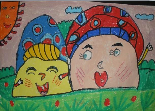 蘑菇-蜡笔画图集8