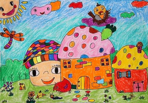 蘑菇-蜡笔画图集10