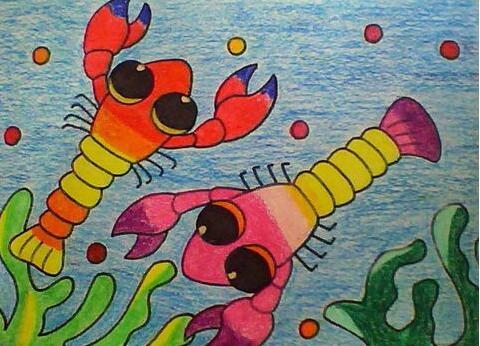 虾-蜡笔画图集