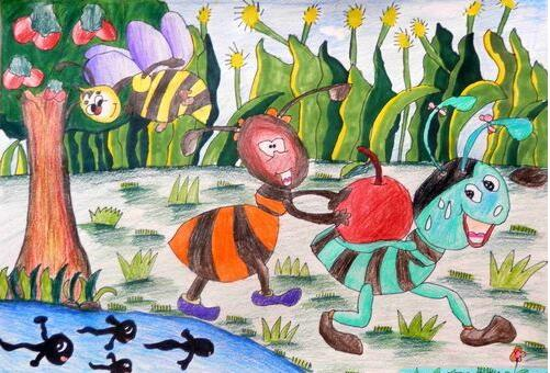 蚂蚁-蜡笔画图集5