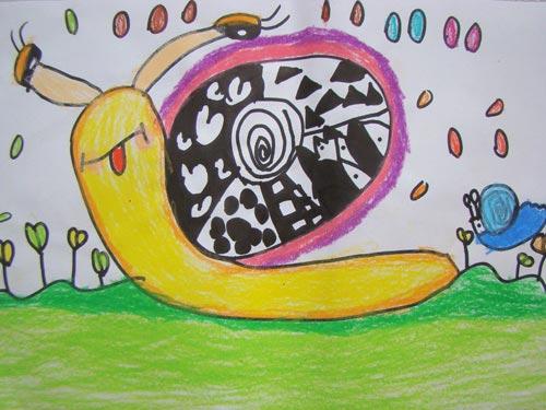 蜗牛-蜡笔画图集3