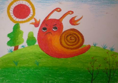 蜗牛-蜡笔画图集4
