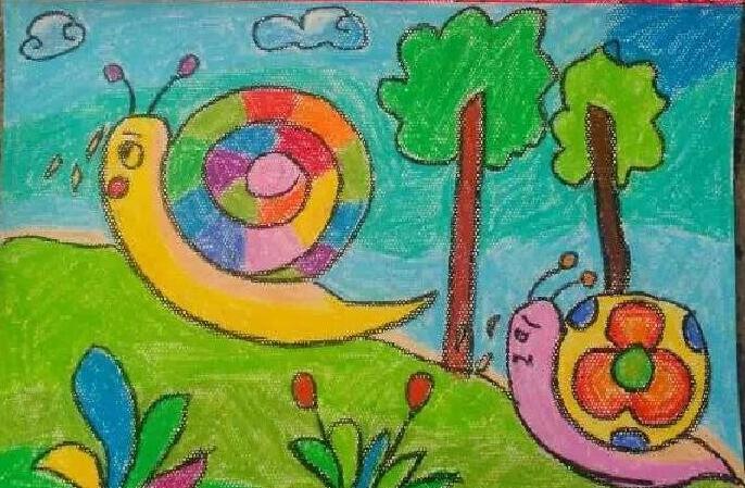 蜗牛-蜡笔画图集5