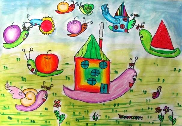 蜗牛-蜡笔画图集6