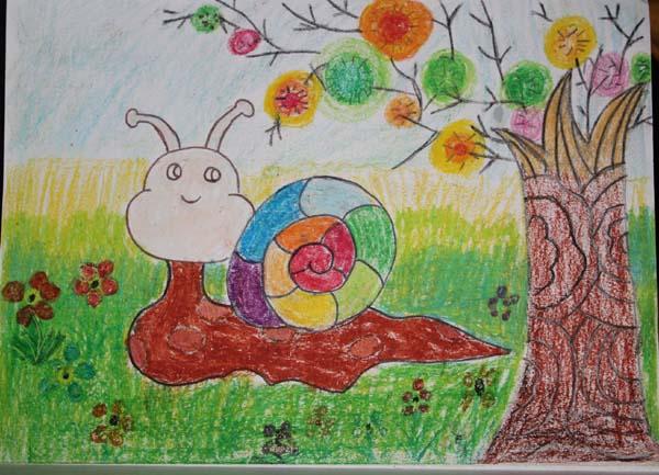 蜗牛-蜡笔画图集7