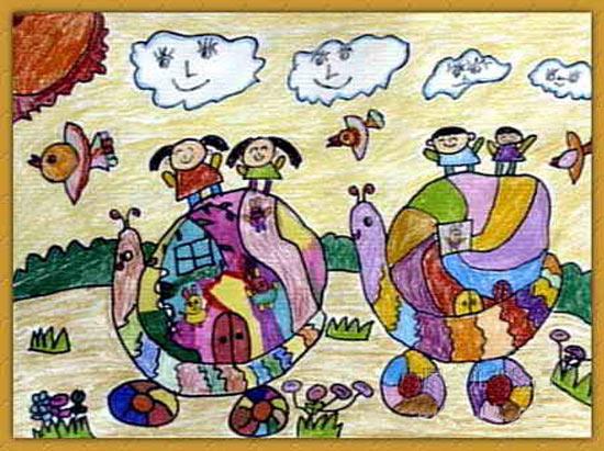 蜗牛-蜡笔画图集8