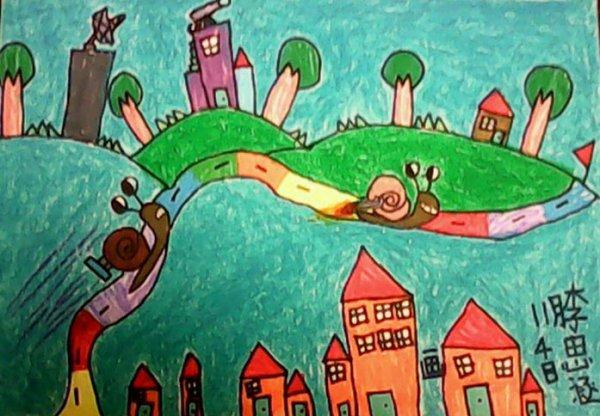 蜗牛-蜡笔画图集9