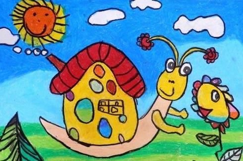 蜗牛-蜡笔画图集10