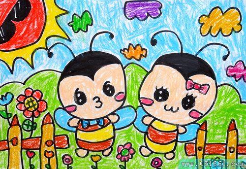 蜜蜂-蜡笔画图集