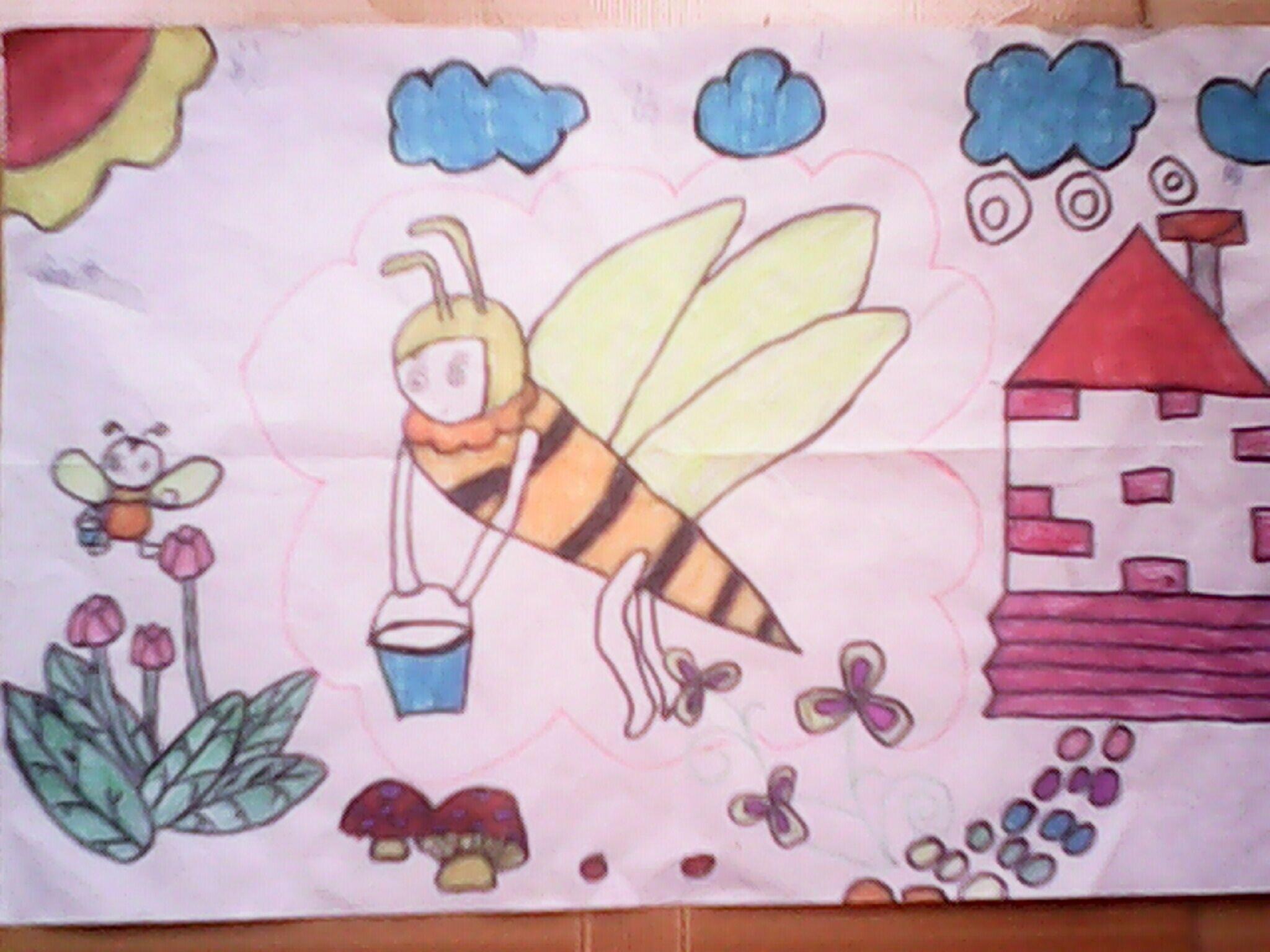 蜜蜂-蜡笔画图集3