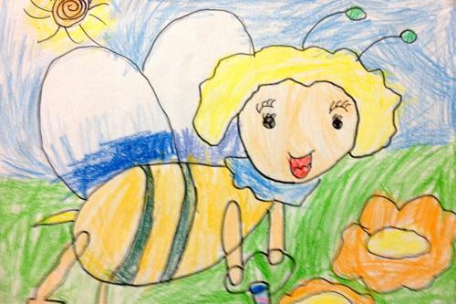 蜜蜂-蜡笔画图集4