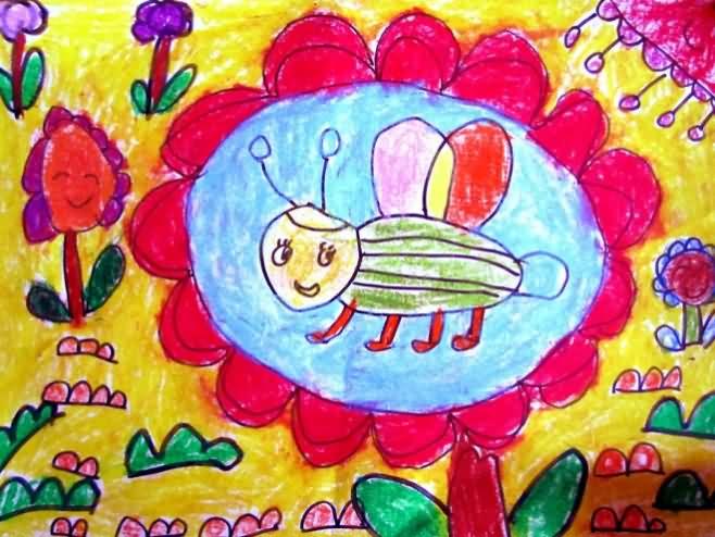 蜜蜂-蜡笔画图集5