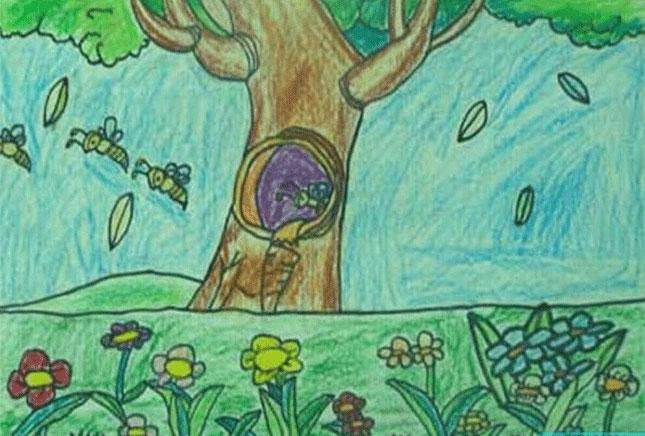 蜜蜂-蜡笔画图集7