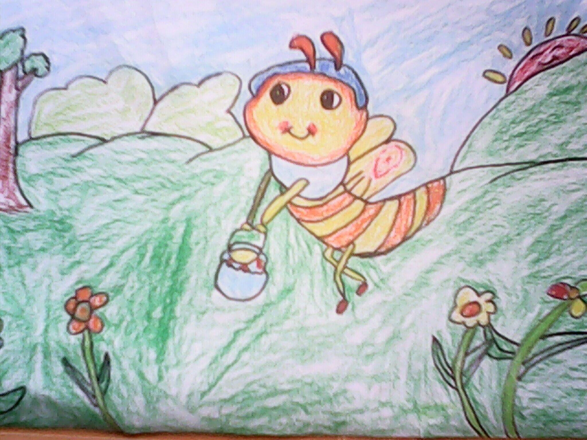 蜜蜂-蜡笔画图集9