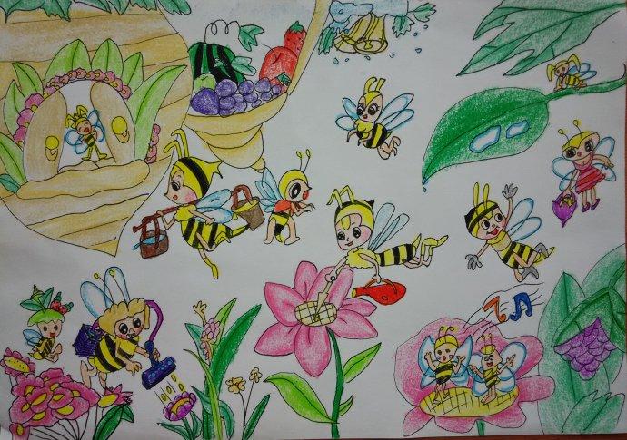 蜜蜂-蜡笔画图集10