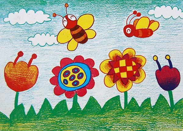蜜蜂-蜡笔画图集11