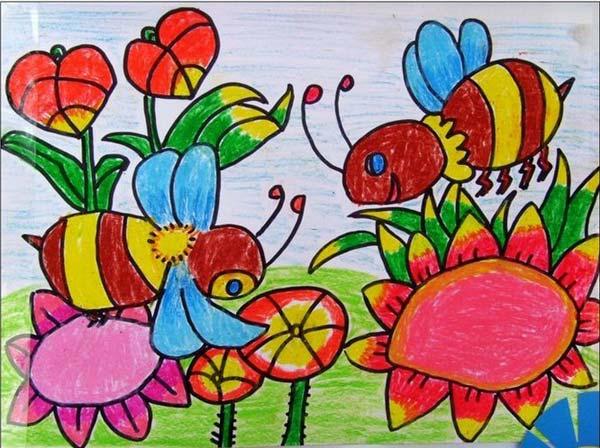 蜜蜂-蜡笔画图集13