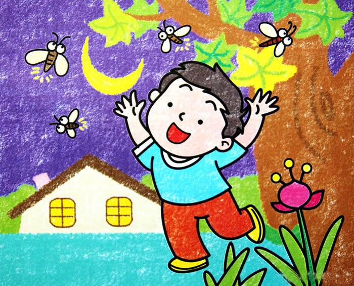 蜻蜓-蜡笔画图集