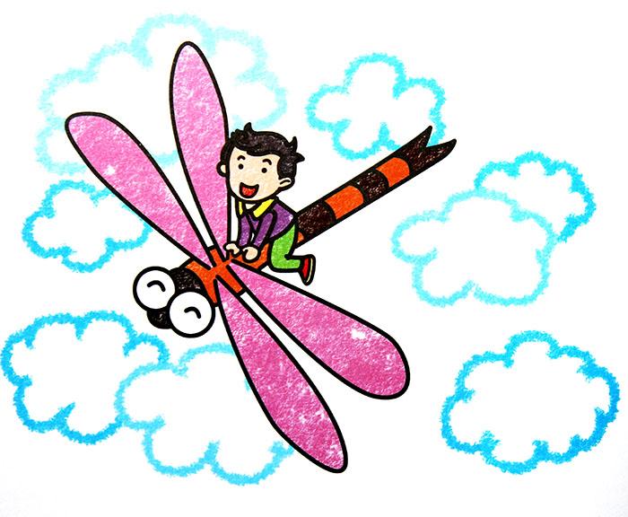 蜻蜓-蜡笔画图集2