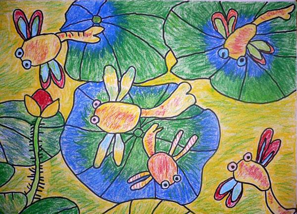 蜻蜓-蜡笔画图集4
