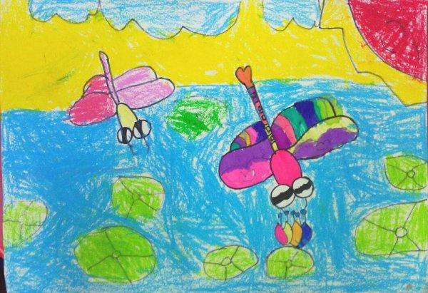 蜻蜓-蜡笔画图集5