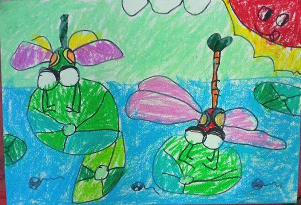 蜻蜓-蜡笔画图集6