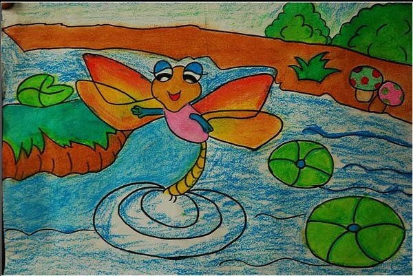 蜻蜓-蜡笔画图集8