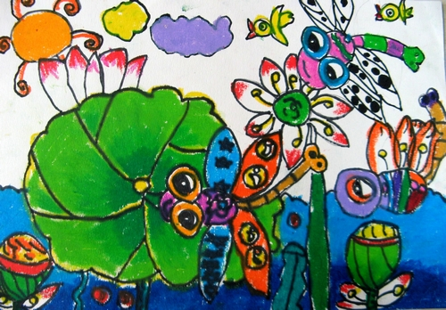 蜻蜓-蜡笔画图集9